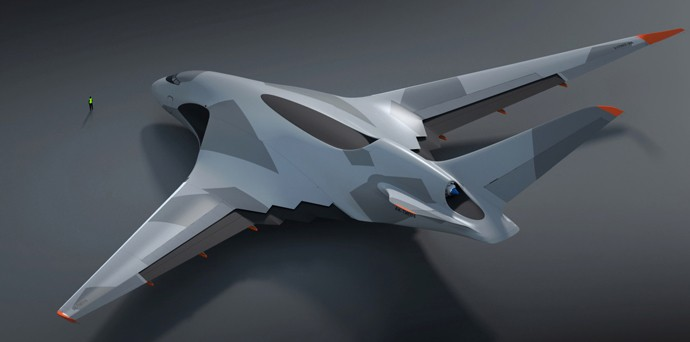 The design of the plane looks like something out of a sci-fi movie. (Artwork: Aleksey Komarov)